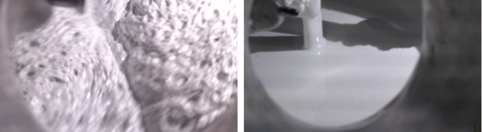 Figure 3: Adhesive mix before and after degassing
