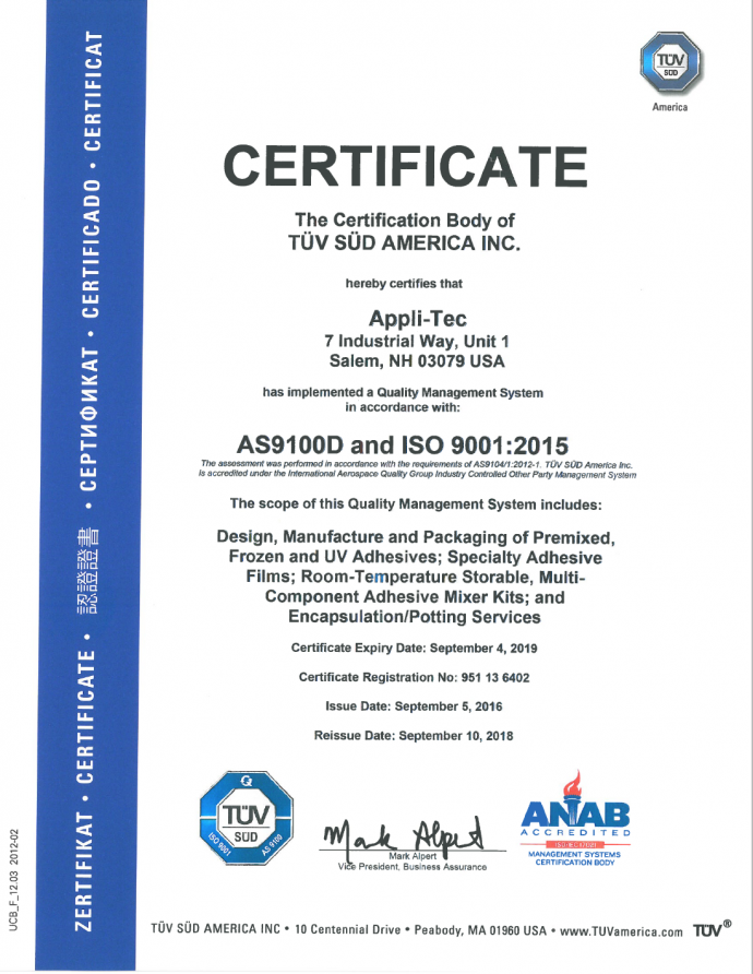 Adhesive Epoxy Manufacturer Appli Tec As 9100 Certified