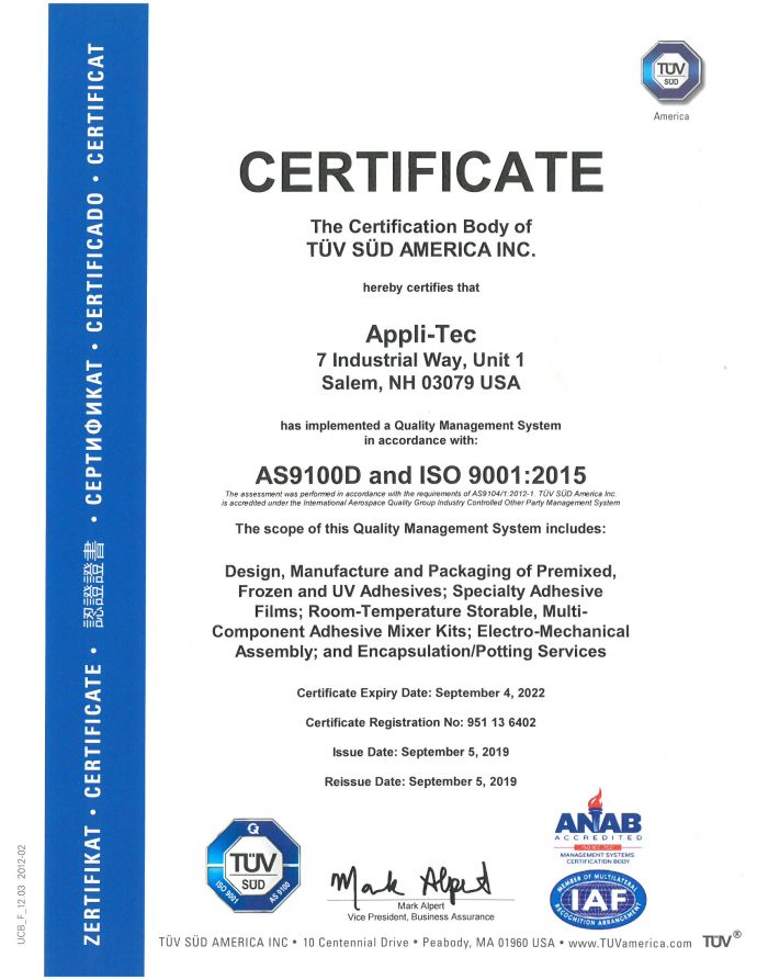 Appli-Tec AS9100 cert